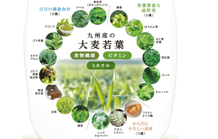 えがおの青汁満菜は、大麦若葉を中心とした24種類の厳選された素材を使用した青汁